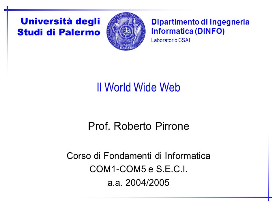 Corso di Fondamenti di Informatica