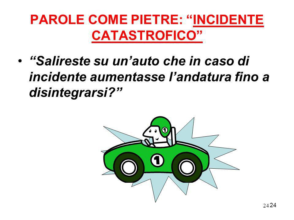 PAROLE COME PIETRE: INCIDENTE CATASTROFICO