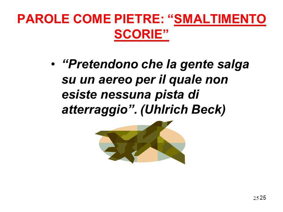 PAROLE COME PIETRE: SMALTIMENTO SCORIE