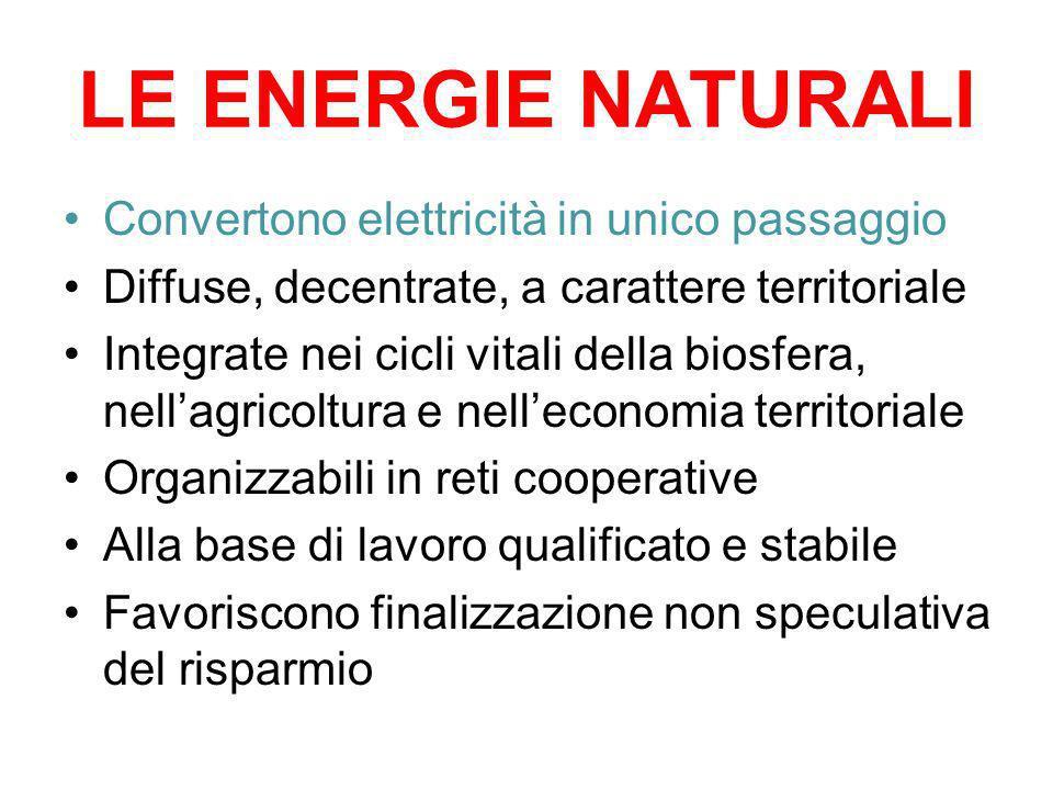 LE ENERGIE NATURALI Convertono elettricità in unico passaggio
