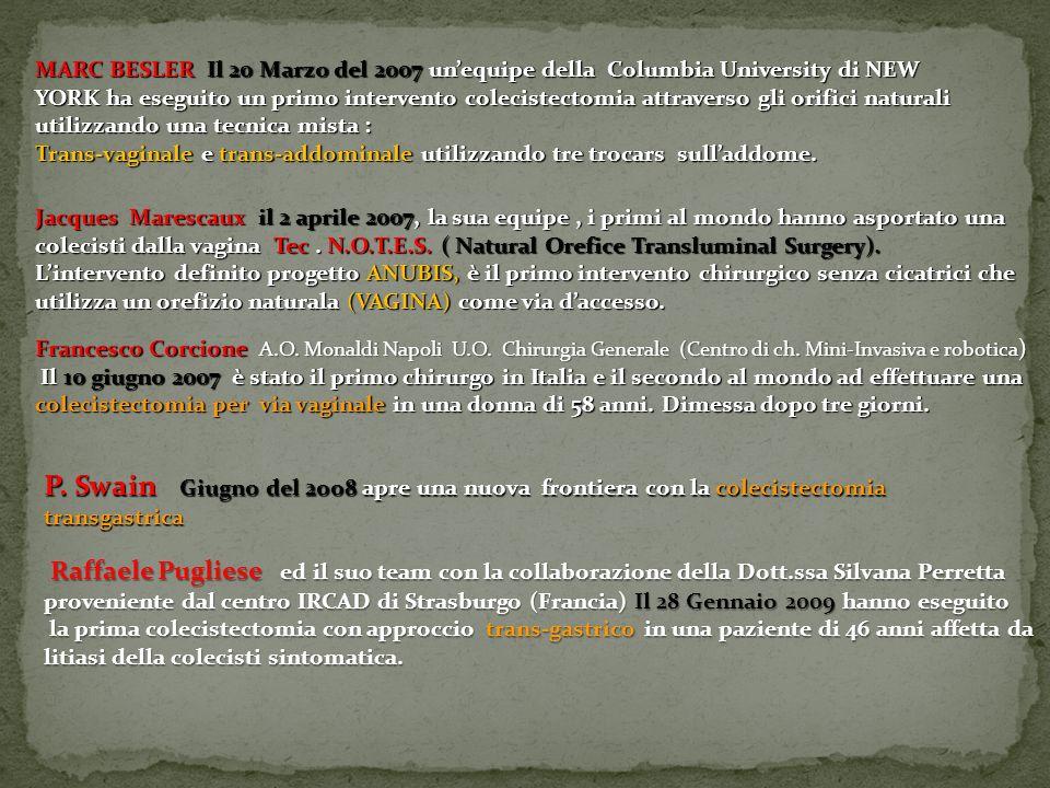 MARC BESLER Il 20 Marzo del 2007 un'equipe della Columbia University di NEW YORK ha eseguito un primo intervento colecistectomia attraverso gli orifici naturali utilizzando una tecnica mista :