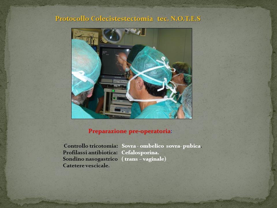 Protocollo Colecistestectomia tec. N.O.T.E.S