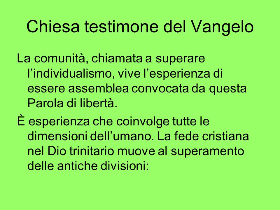 Chiesa testimone del Vangelo