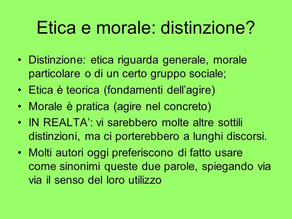 Etica e morale: distinzione
