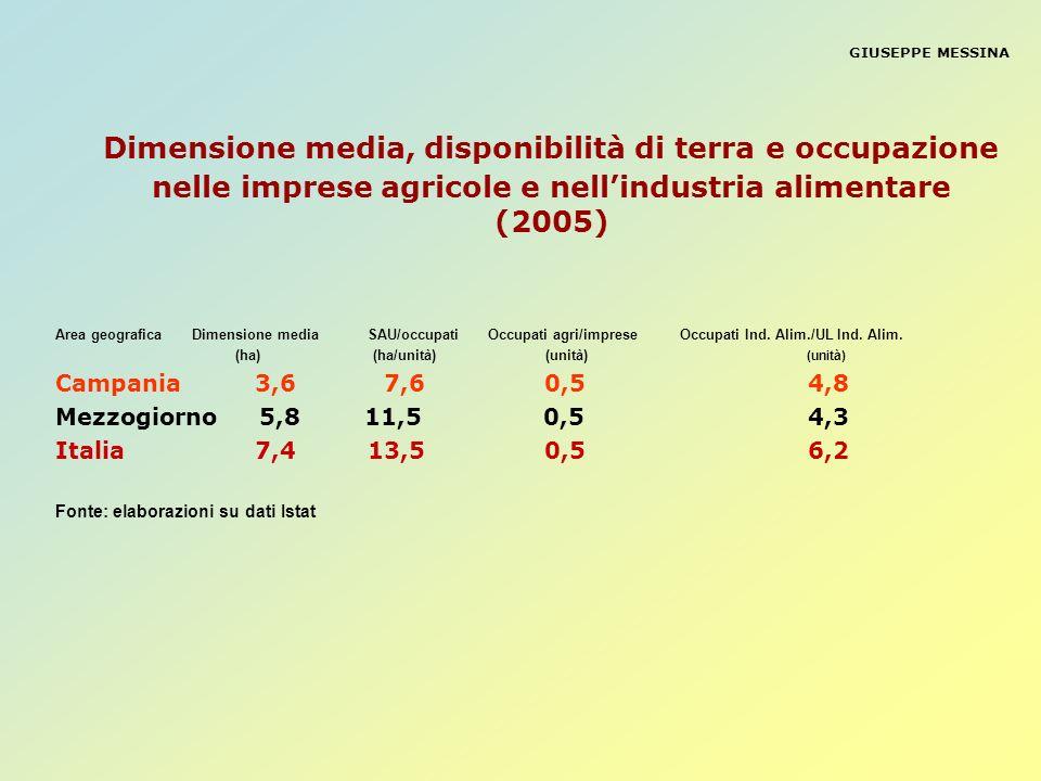 GIUSEPPE MESSINADimensione media, disponibilità di terra e occupazione nelle imprese agricole e nell'industria alimentare (2005)