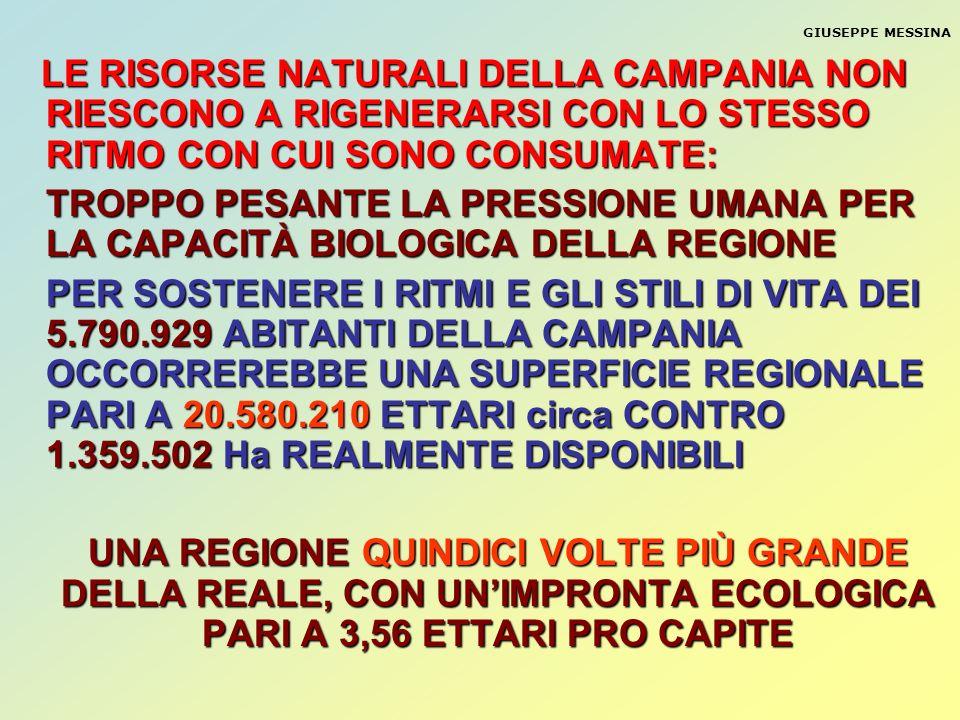 GIUSEPPE MESSINA LE RISORSE NATURALI DELLA CAMPANIA NON RIESCONO A RIGENERARSI CON LO STESSO RITMO CON CUI SONO CONSUMATE: