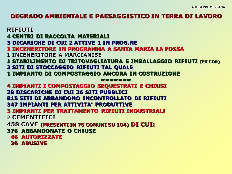 DEGRADO AMBIENTALE E PAESAGGISTICO IN TERRA DI LAVORO