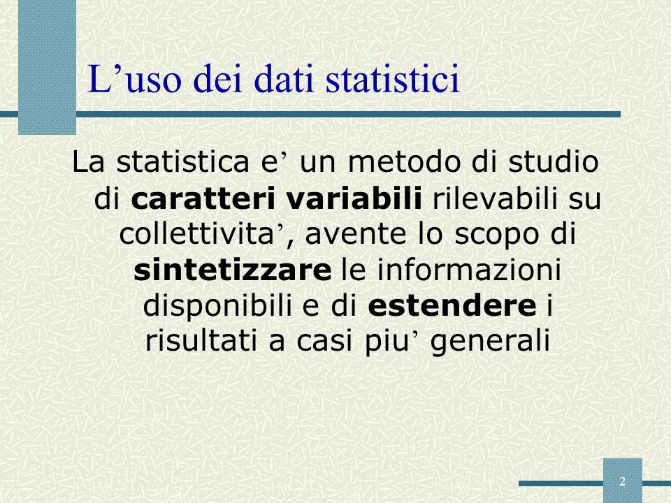 L'uso dei dati statistici