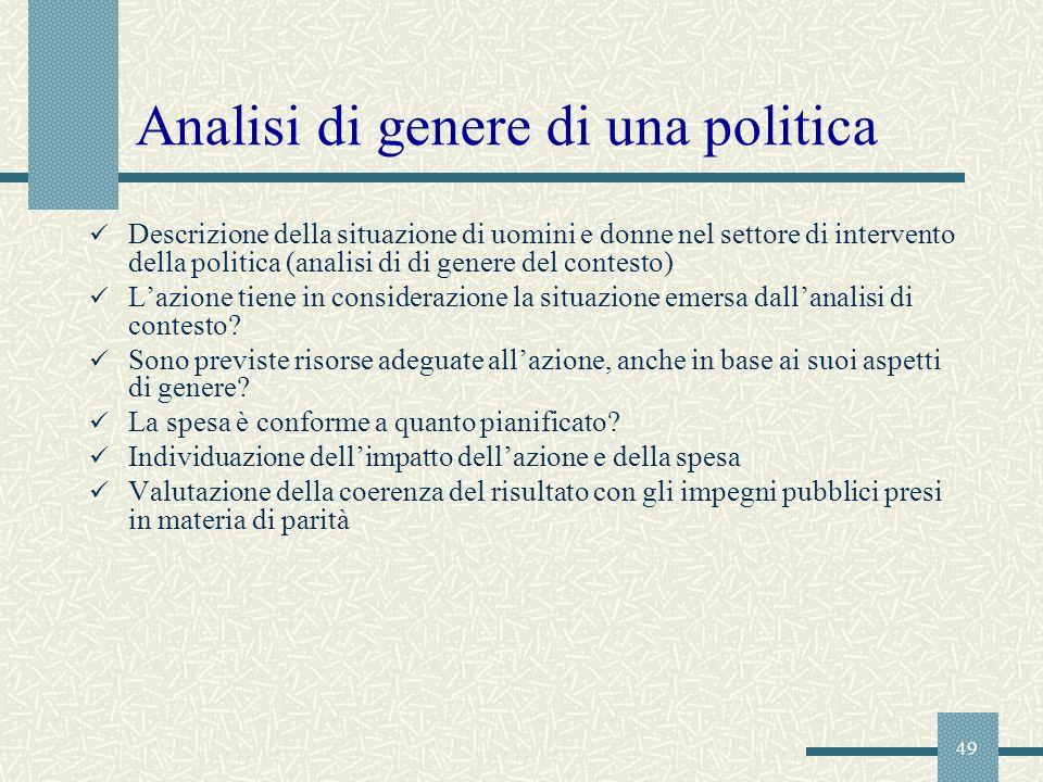 Analisi di genere di una politica