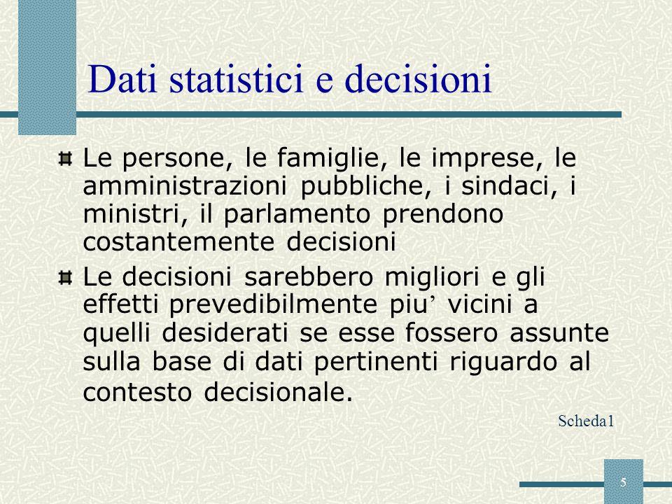 Dati statistici e decisioni