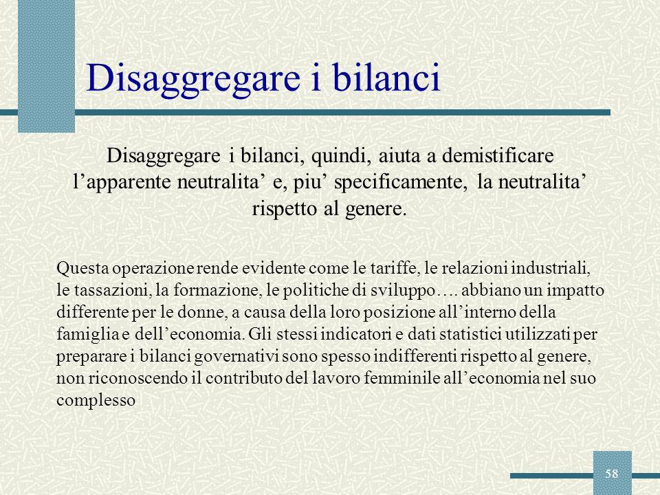 Disaggregare i bilanci