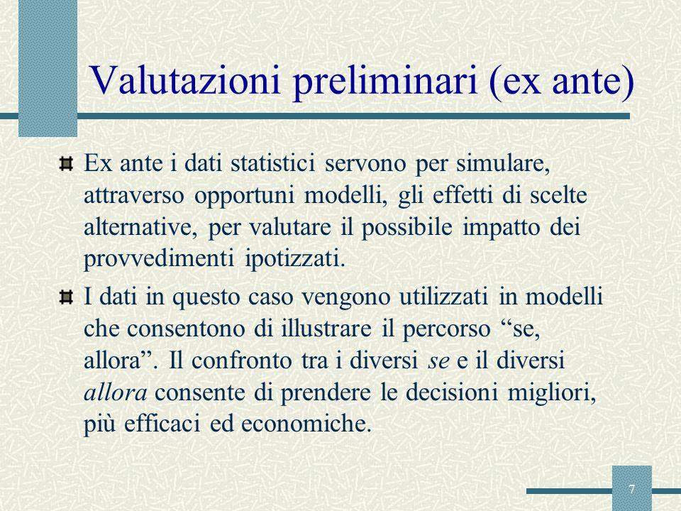 Valutazioni preliminari (ex ante)