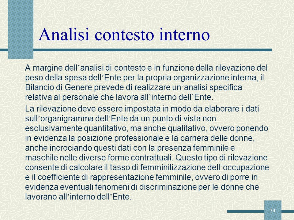 Analisi contesto interno