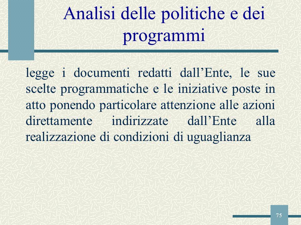 Analisi delle politiche e dei programmi
