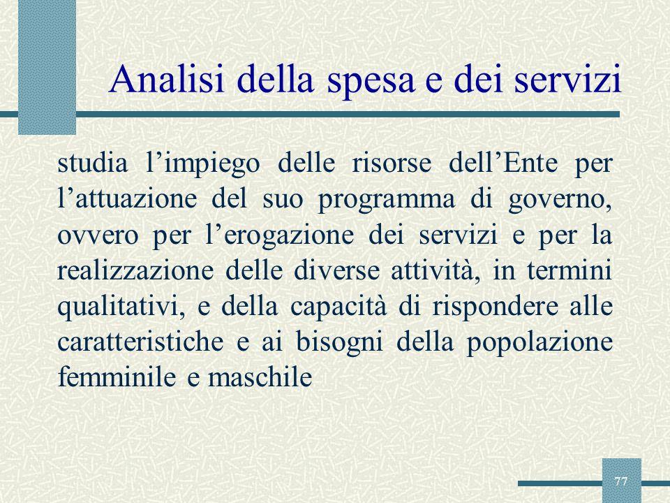 Analisi della spesa e dei servizi