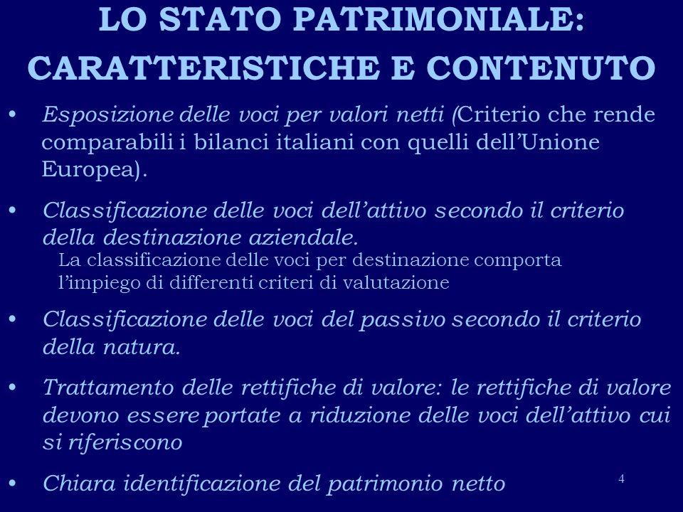LO STATO PATRIMONIALE: CARATTERISTICHE E CONTENUTO