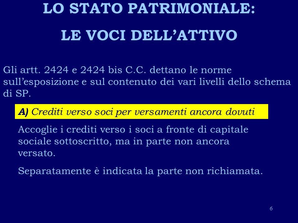 LO STATO PATRIMONIALE: