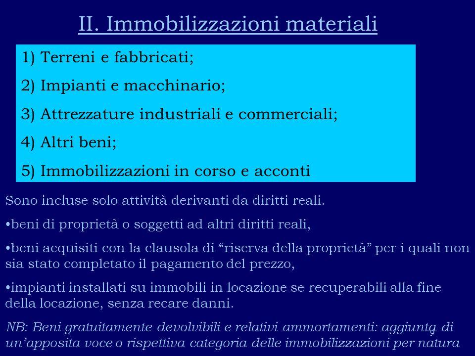 II. Immobilizzazioni materiali