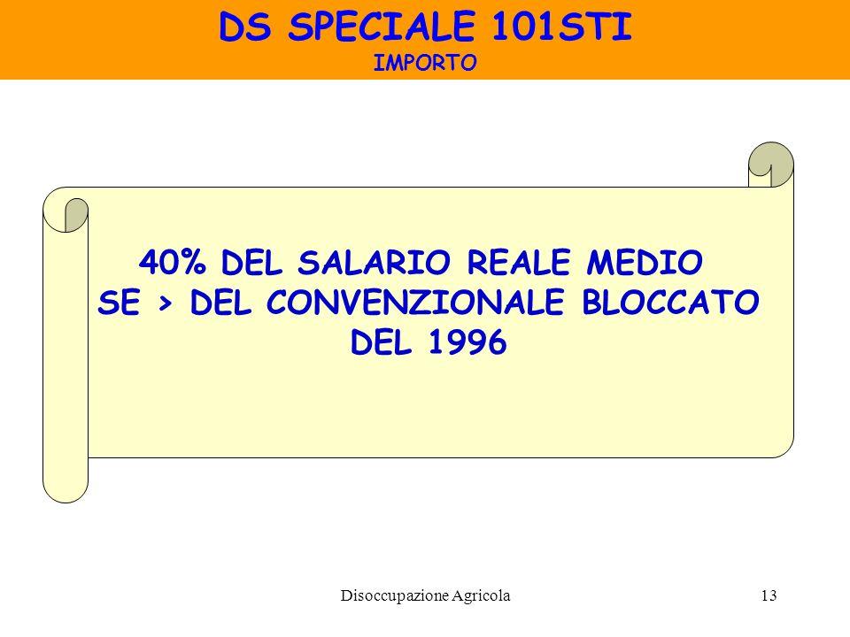 40% DEL SALARIO REALE MEDIO SE > DEL CONVENZIONALE BLOCCATO