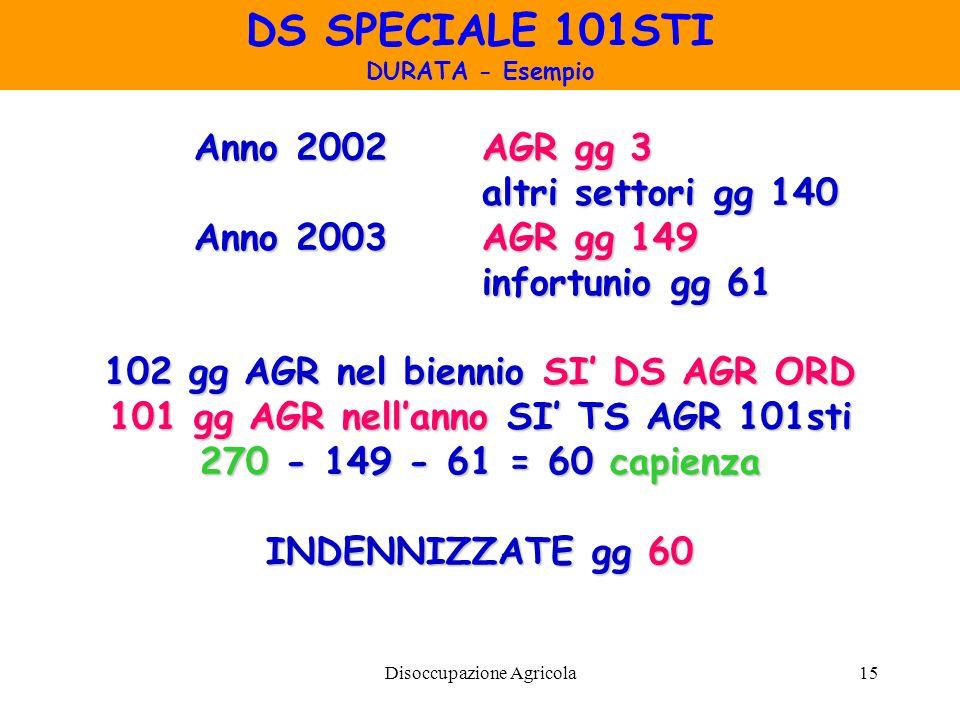 DS SPECIALE 101STI Anno 2002 AGR gg 3 altri settori gg 140