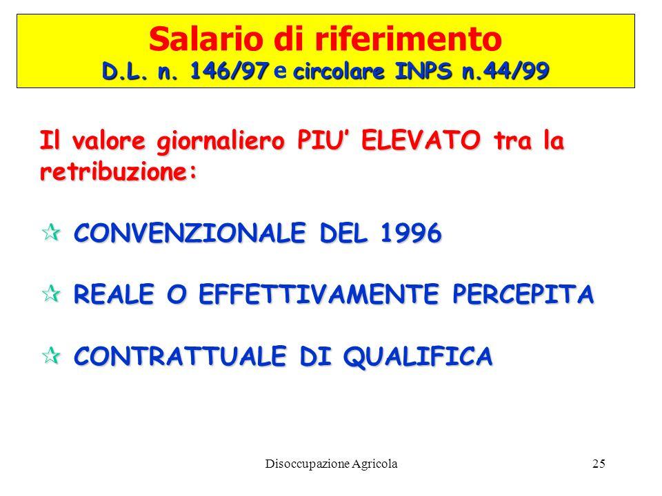 Salario di riferimento D.L. n. 146/97 e circolare INPS n.44/99