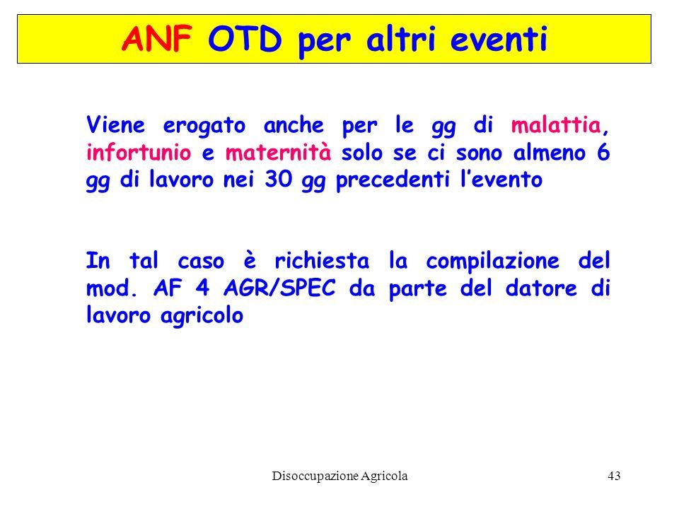 ANF OTD per altri eventi