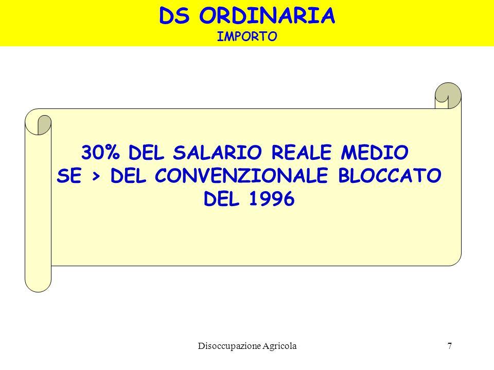30% DEL SALARIO REALE MEDIO SE > DEL CONVENZIONALE BLOCCATO