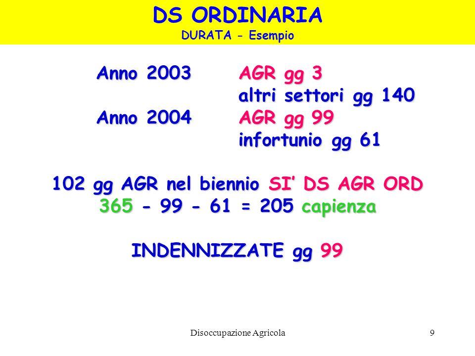 102 gg AGR nel biennio SI' DS AGR ORD