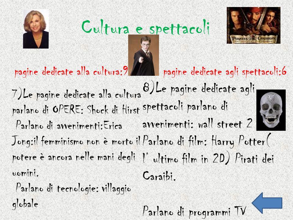 Cultura e spettacoli pagine dedicate alla cultura:9. pagine dedicate agli spettacoli:6.