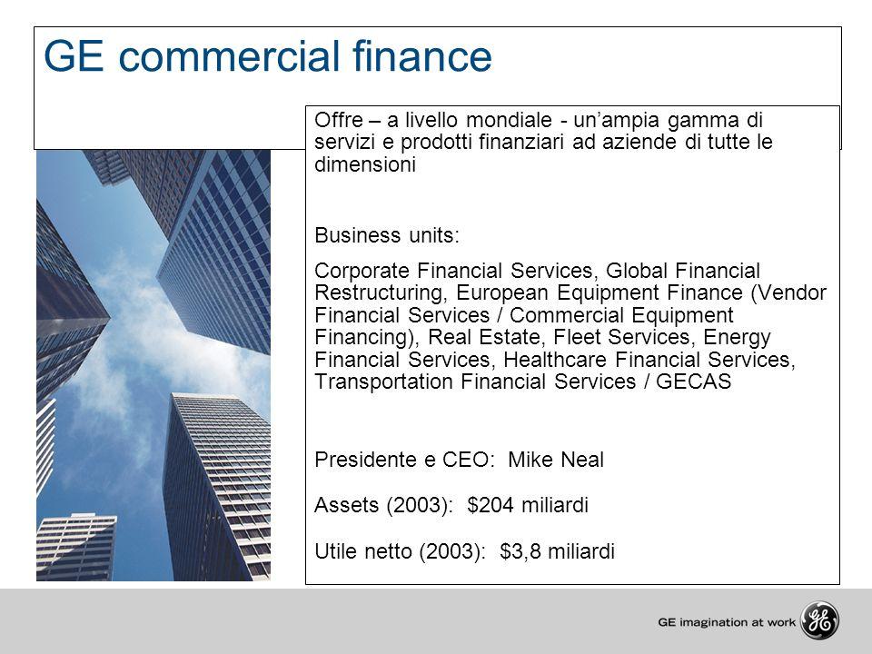 GE commercial finance Offre – a livello mondiale - un'ampia gamma di servizi e prodotti finanziari ad aziende di tutte le dimensioni.