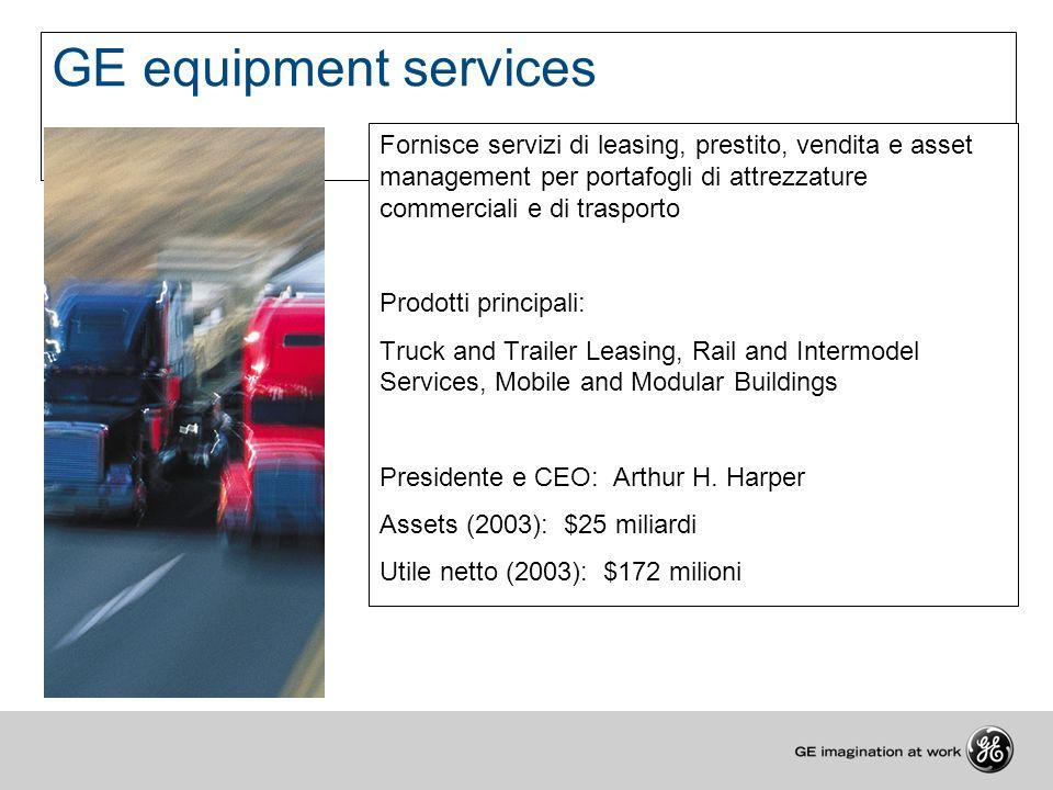 GE equipment services Fornisce servizi di leasing, prestito, vendita e asset management per portafogli di attrezzature commerciali e di trasporto.