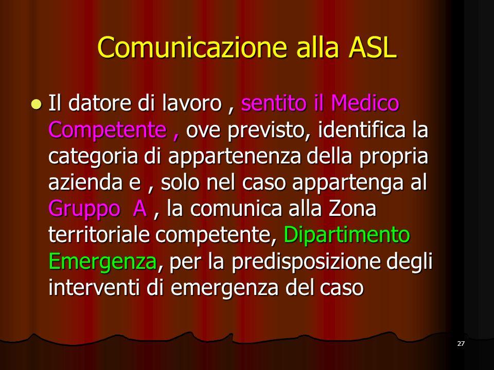 Comunicazione alla ASL