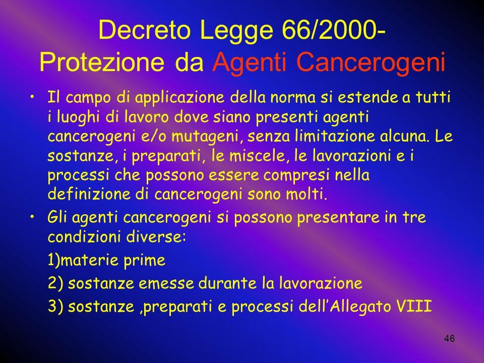 Decreto Legge 66/2000- Protezione da Agenti Cancerogeni