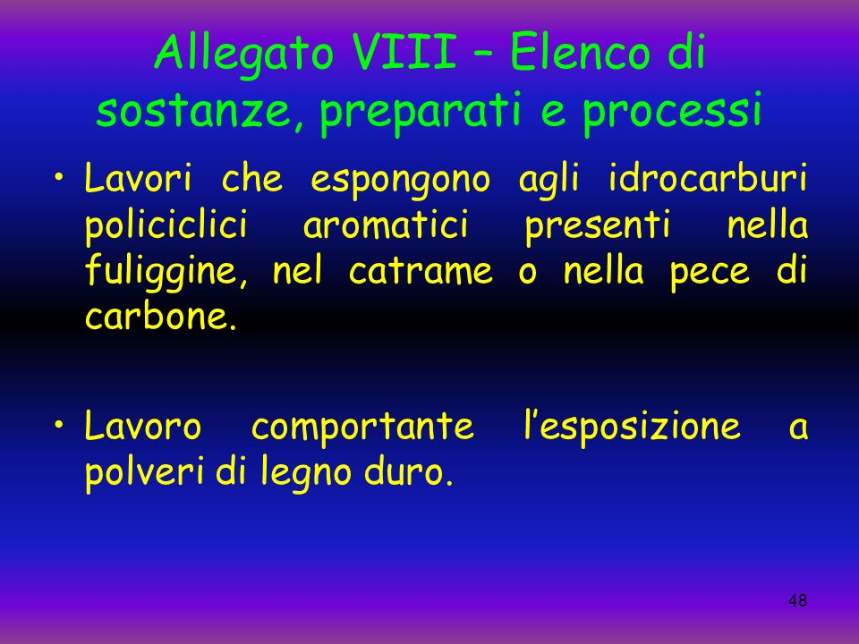 Allegato VIII – Elenco di sostanze, preparati e processi