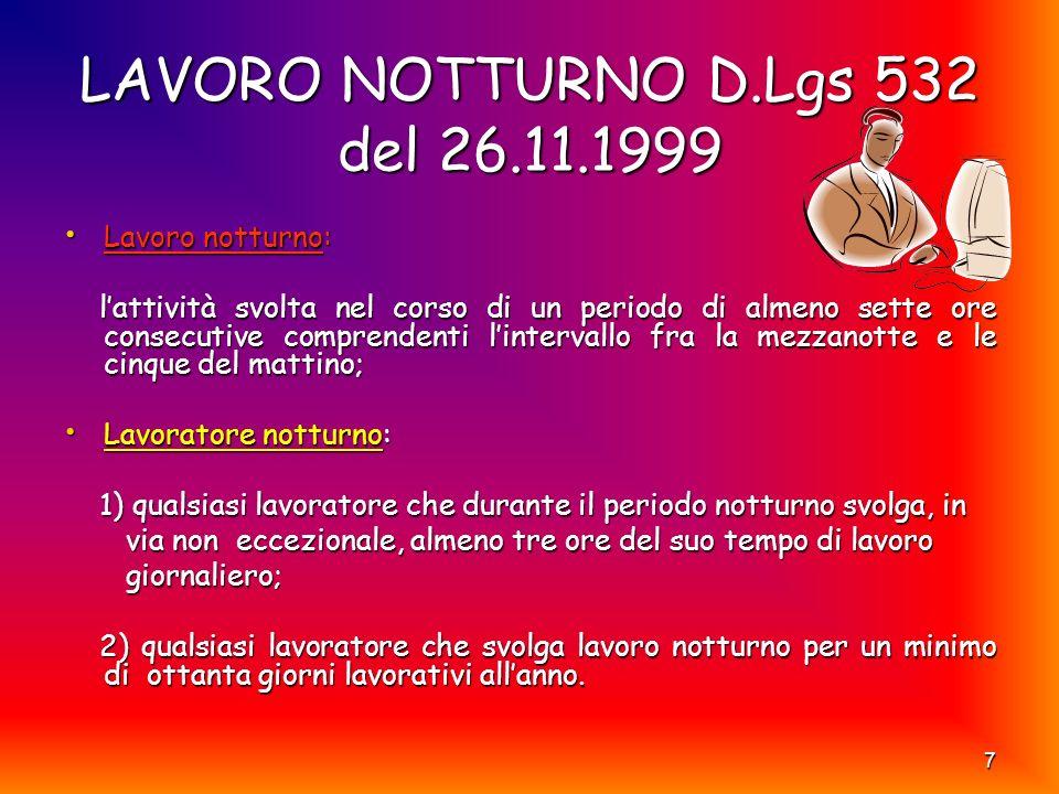 LAVORO NOTTURNO D.Lgs 532 del 26.11.1999