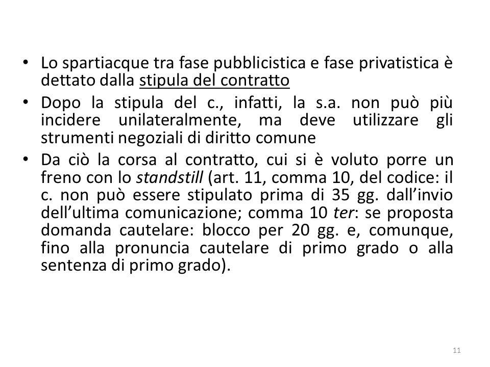 Lo spartiacque tra fase pubblicistica e fase privatistica è dettato dalla stipula del contratto