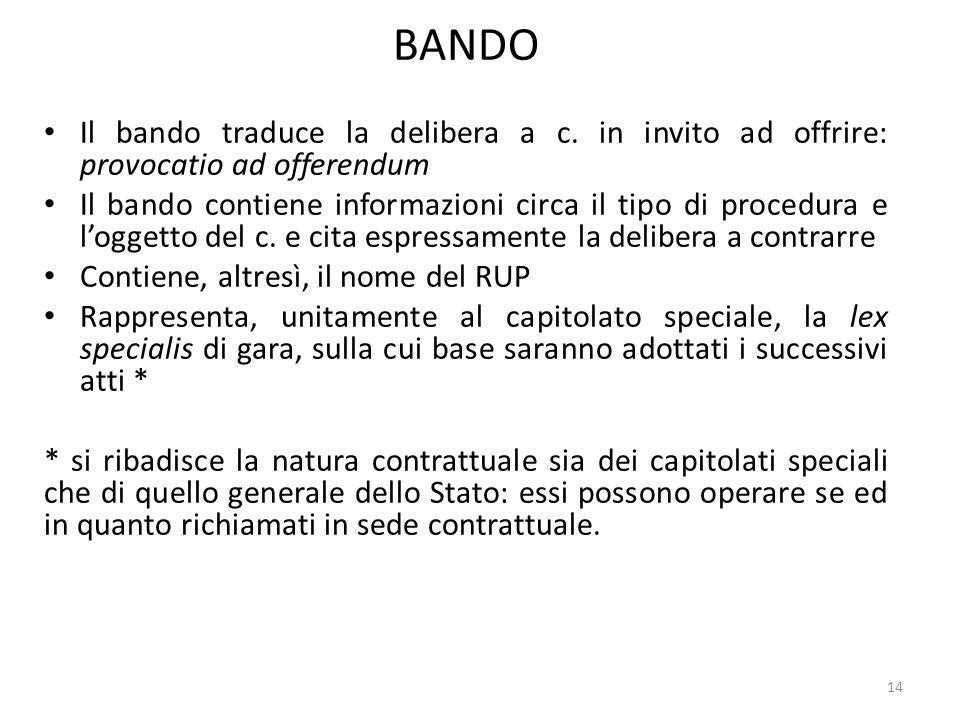 BANDO Il bando traduce la delibera a c. in invito ad offrire: provocatio ad offerendum.