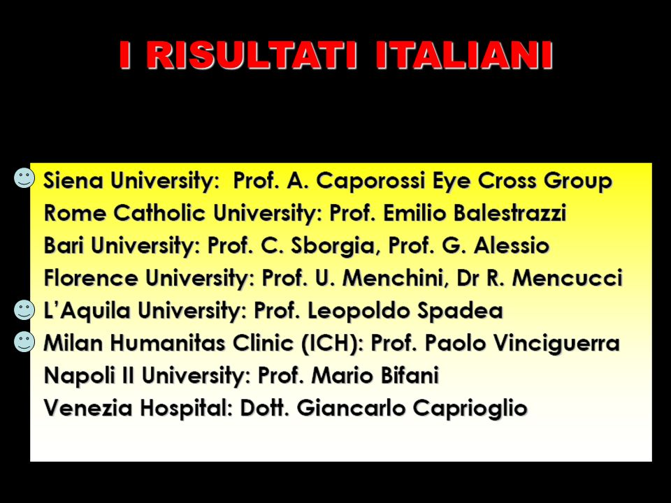 I RISULTATI ITALIANI