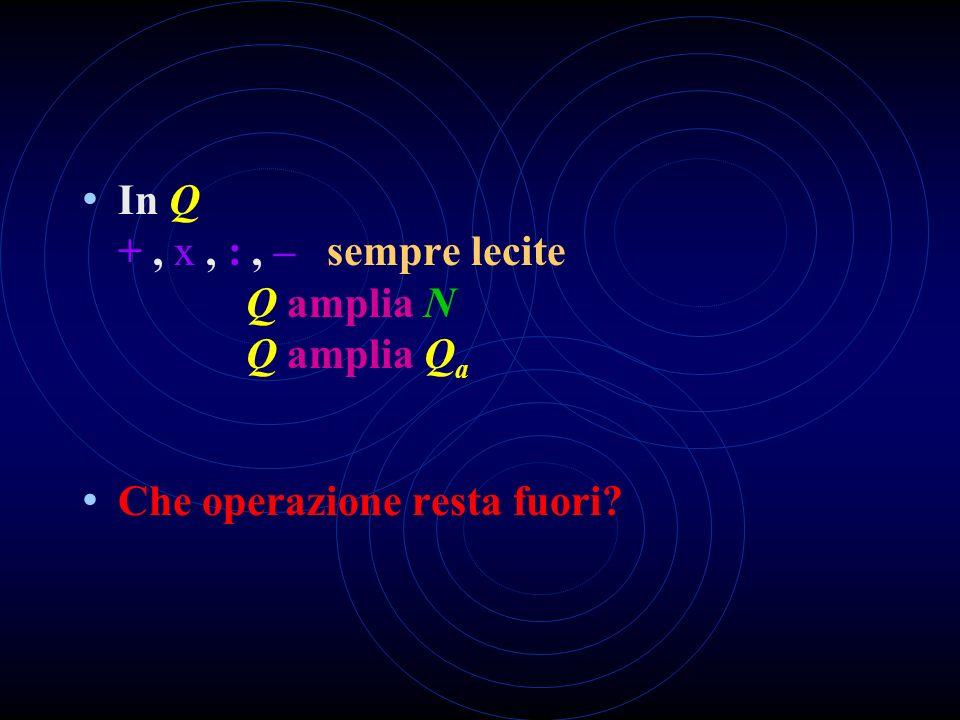 In Q + , x , : , – sempre lecite Q amplia N Q amplia Qa