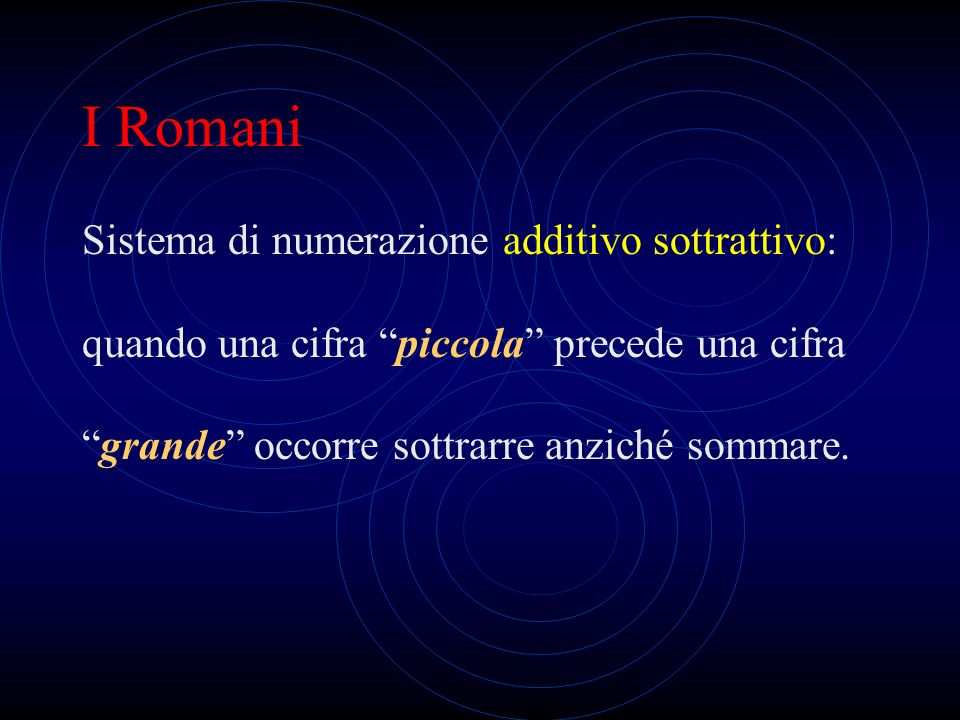 I Romani Sistema di numerazione additivo sottrattivo: quando una cifra piccola precede una cifra grande occorre sottrarre anziché sommare.