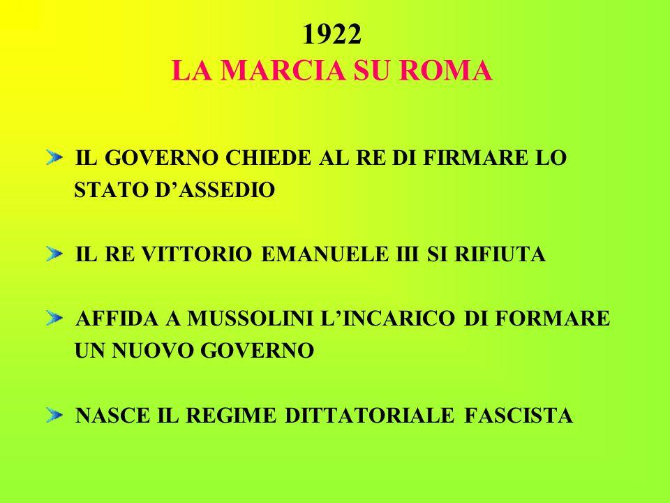 1922 LA MARCIA SU ROMA IL GOVERNO CHIEDE AL RE DI FIRMARE LO