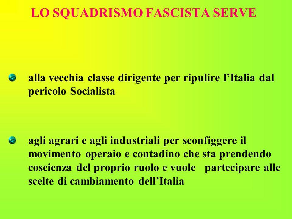 LO SQUADRISMO FASCISTA SERVE