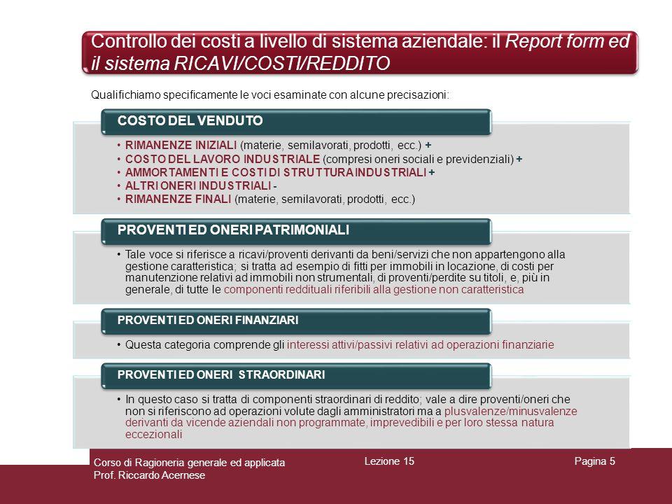 Controllo dei costi a livello di sistema aziendale: il Report form ed il sistema RICAVI/COSTI/REDDITO