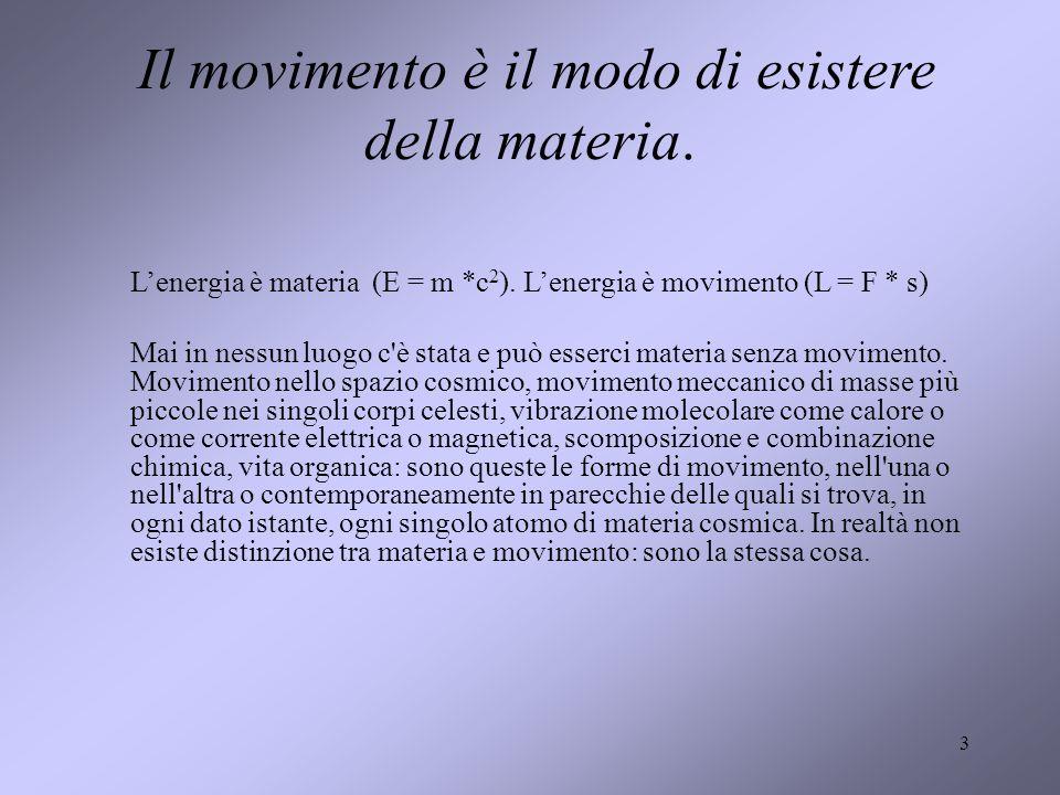 Il movimento è il modo di esistere della materia.