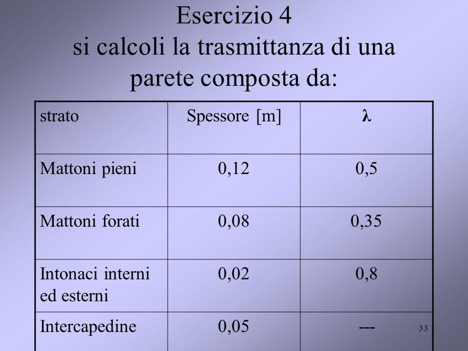 Esercizio 4 si calcoli la trasmittanza di una parete composta da: