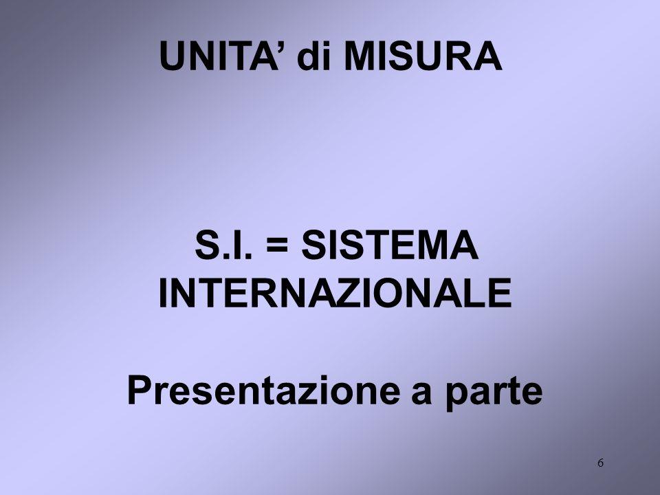 S.I. = SISTEMA INTERNAZIONALE Presentazione a parte