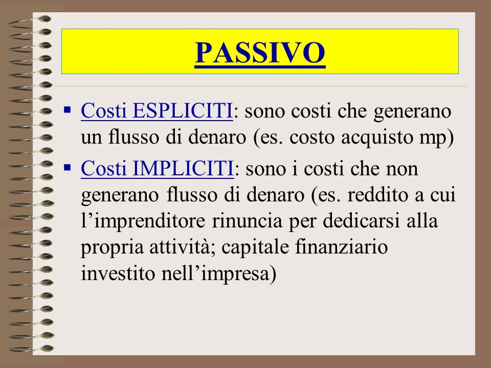 PASSIVOCosti ESPLICITI: sono costi che generano un flusso di denaro (es. costo acquisto mp)