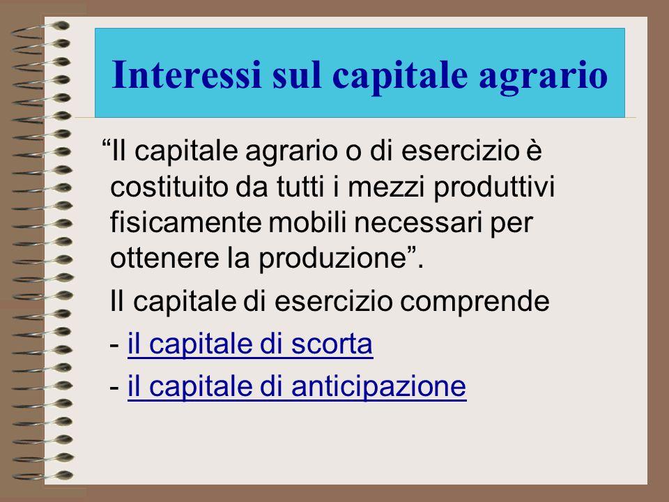 Interessi sul capitale agrario
