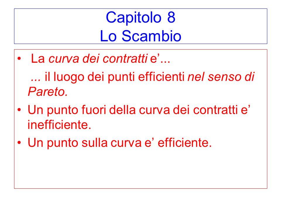 Capitolo 8 Lo Scambio La curva dei contratti e'...