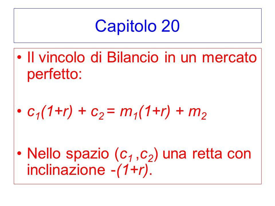 Capitolo 20 Il vincolo di Bilancio in un mercato perfetto: